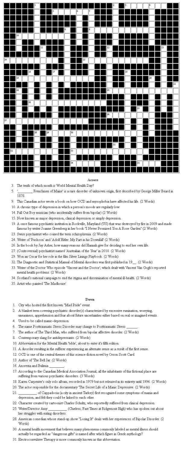 Fun and Games - Mental Health Crossword
