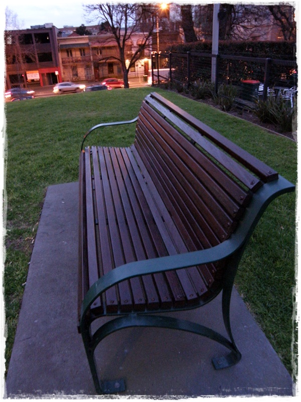 The first bench I slept on when I was homeless in 2007.