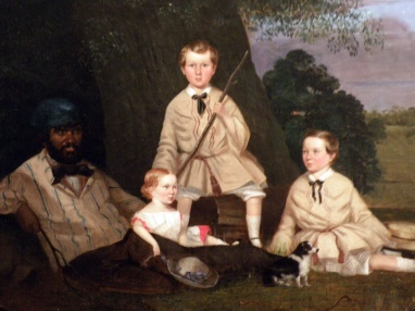 Masters George, William and Miss Harriet Ware with the Aborigine Jamie Ware (Robert Dowling)